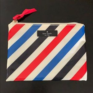 Kate Spade striped travel cosmetics case